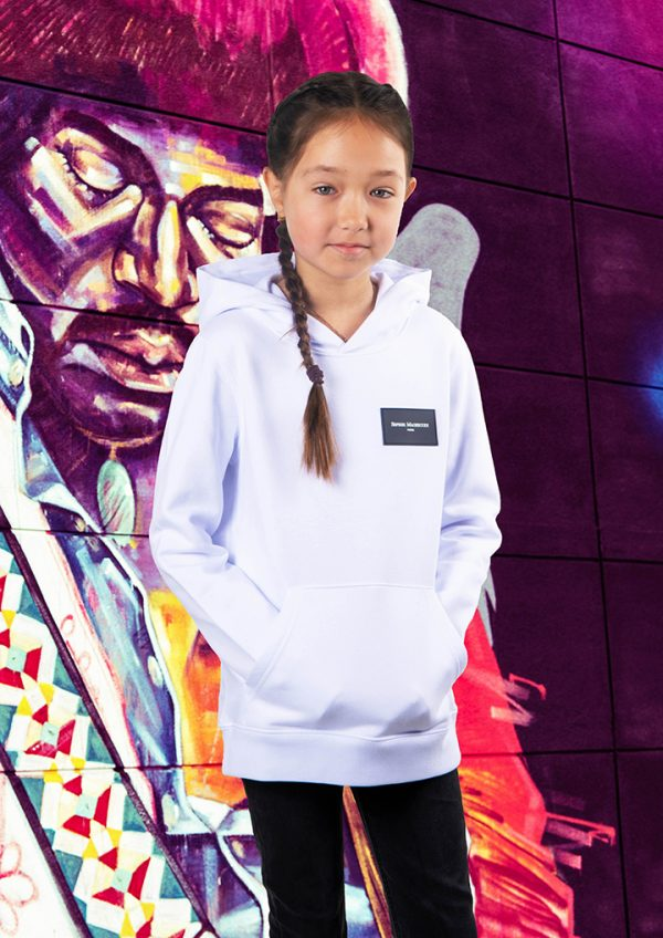 white Hoodie Maghsoudi kids persian girls rubber label